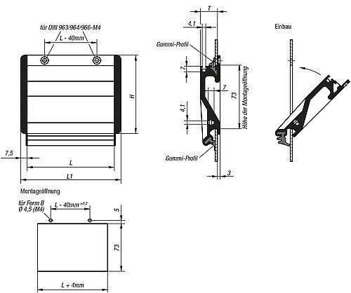 Schalengriff Form B Zeichnung