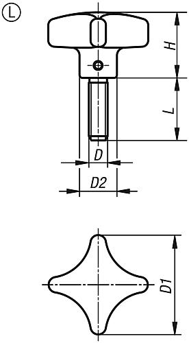 Kreuzgriff DIN 6335, Form L Außengewinde, Grauguss, Zeichnung
