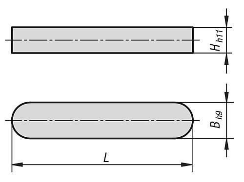 Passfeder DIN 6885 Zeichnung