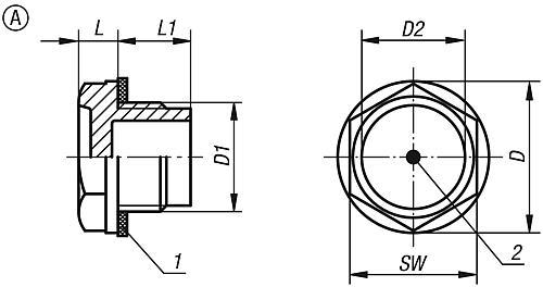 Ölschauglas einfach, Form A, Zeichnung