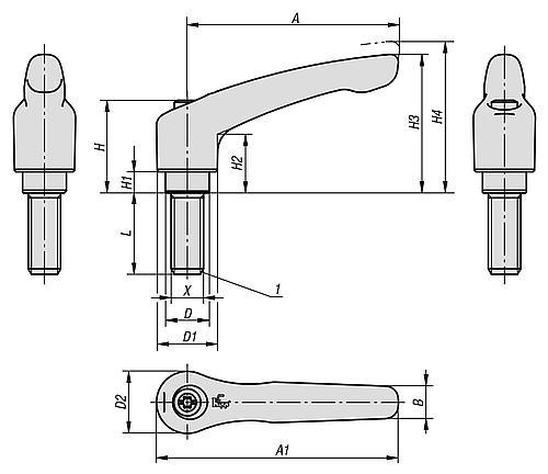 Klemmhebe verstellbar mit Außengewinde, Stahl, Zeichnung