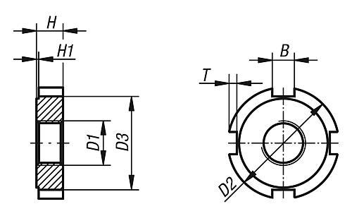 Nutmuttern DIN 1804, Stahl