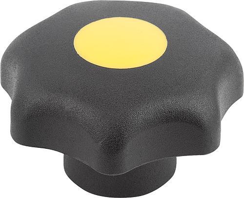 Sterngriff DIN 6336, Form K, Innengewinde mit Deckel, rapsgelb, Thermoplast