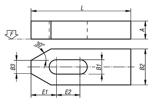 Spanneisen flach, DIN 6314, Zeichnung