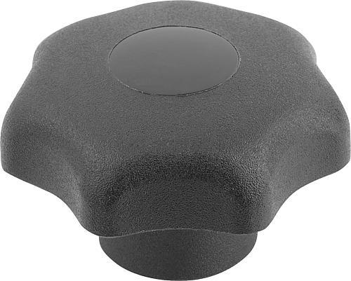 Sterngriff DIN 6336, Form K, Innengewinde mit Deckel, schwarz, Thermoplast