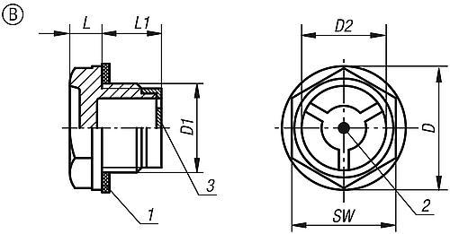 Ölschauglas einfach, Form B, Zeichnung