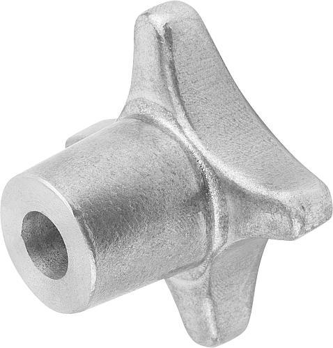 Kreuzgriff DIN 6335, Form B mit Durchgangsbohrung, gleitgeschliffen, Aluminium, seitlich