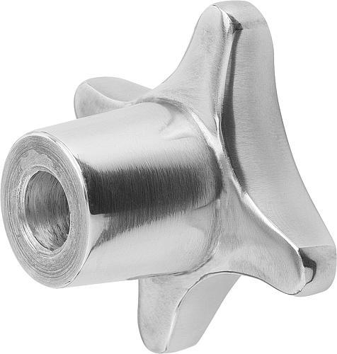 Kreuzgriff DIN 6335, Form B mit Durchgangsbohrung, poliert, Aluminium, seitlich