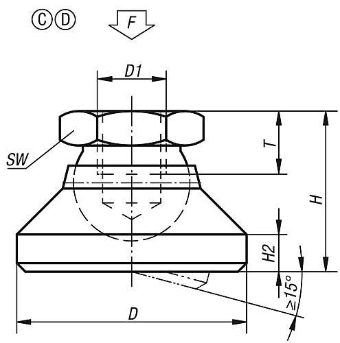 Gelenkteller Form C / D Zeichnung