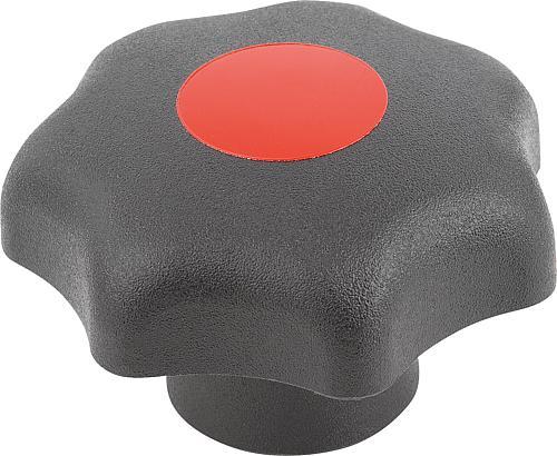 Sterngriff DIN 6336, Form K, Innengewinde mit Deckel, verkehrsrot, Thermoplast