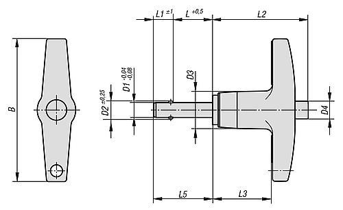 Kugelsperrbolzen mit langem T-Griff selbstsichernd