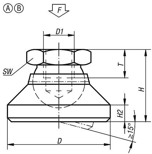 Gelenkteller Form A / B Zeichnung