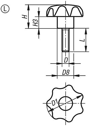 Sterngriff DIN 6336, Form L, Außengewinde, Zeichnung