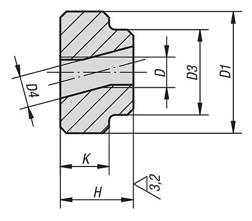 Schnellspann-Rändelmutter, Stahl brüniert, Zeichnung