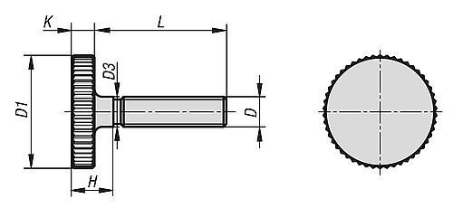 Rändelschraube flach, DIN 653