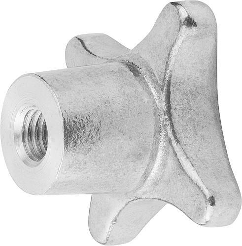 Kreuzgriff DIN 6335, Form E mit Gewindesackloch, gleitgeschliffen, Aluminium, seitlich