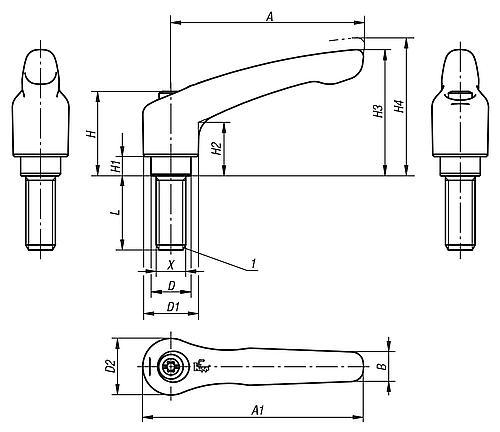 Klemmhebel, verstellbar mit Außengewinde, Zinkdruckguss, Zeichnung