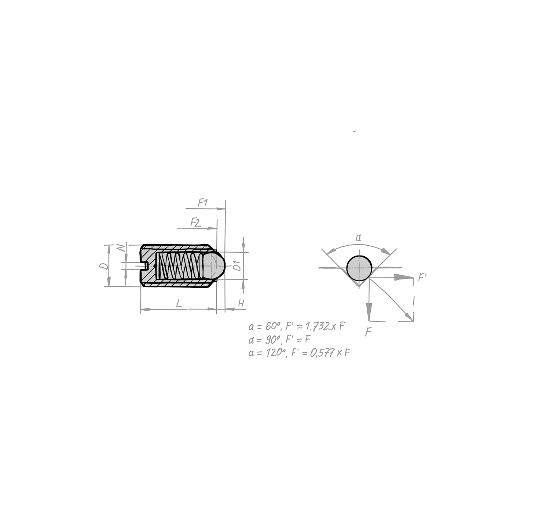 Federnde Druckstücke mit Schlitz und Kugel