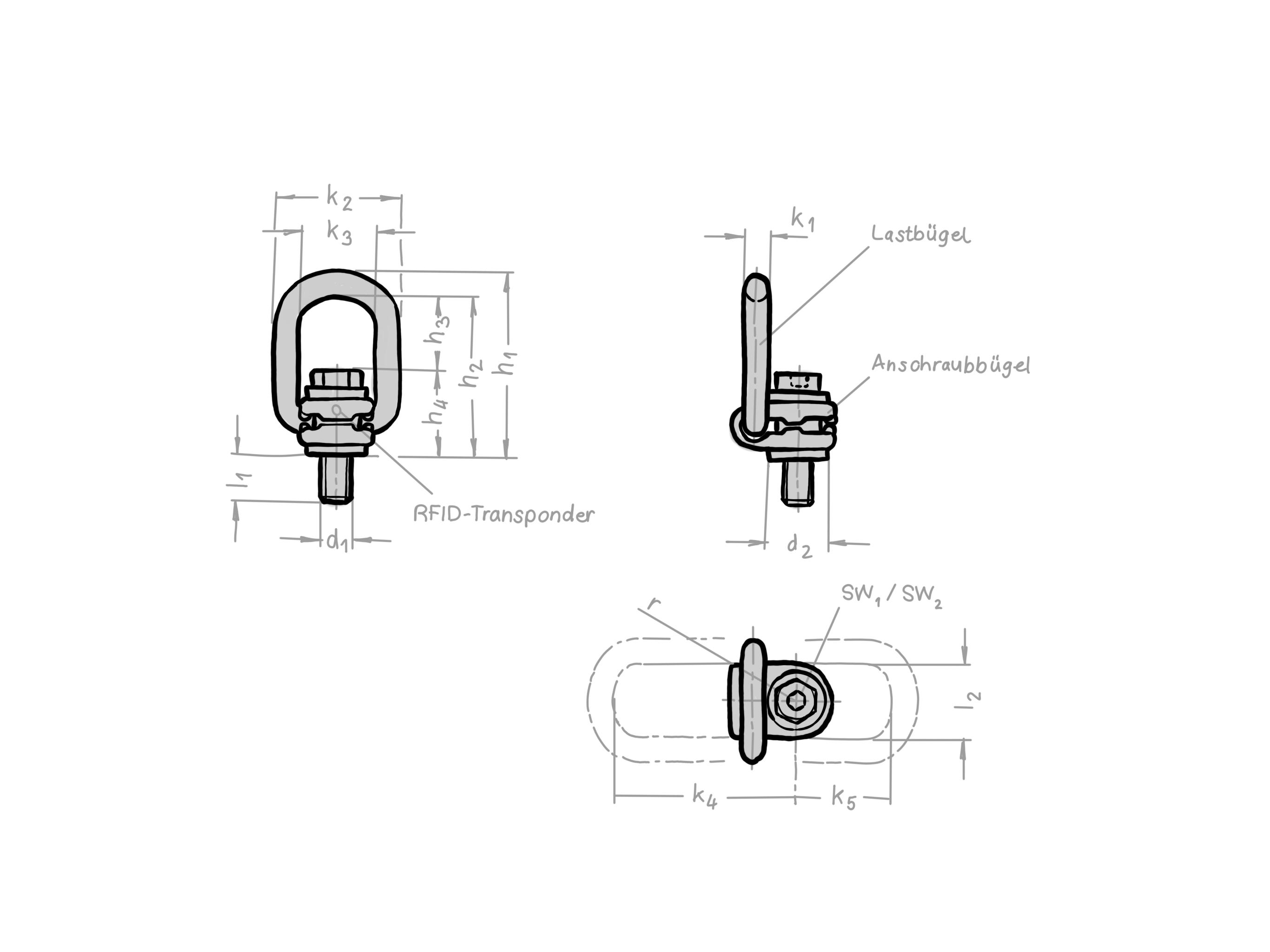 Drehbarer Lastbügel VLBG, Zeichnung Leinigen