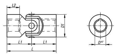 Gelenkwelle DIN 808 einfach, mit Gleitlager