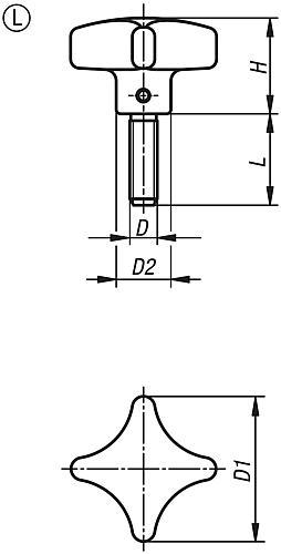 Kreuzgriff DIN 6335, Form L mit Außengewinde, Zeichnung