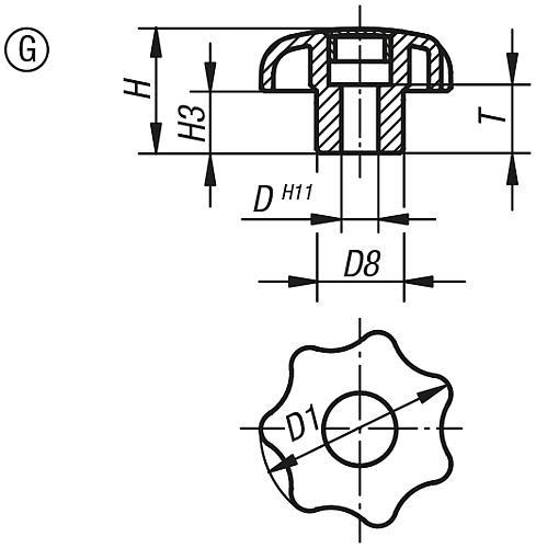 Sterngriff DIN 6336, Form G; Zeichnung