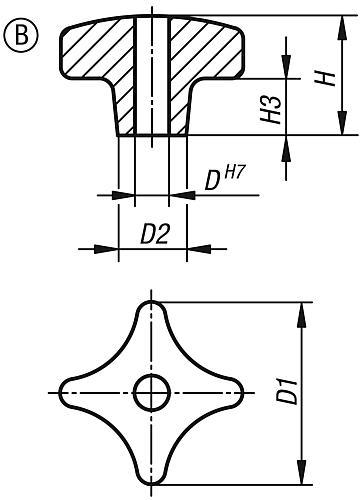 Kreuzgriff DIN 6335, Form B mit durchgehender Bohrung aus Grauguss , Zeichnung