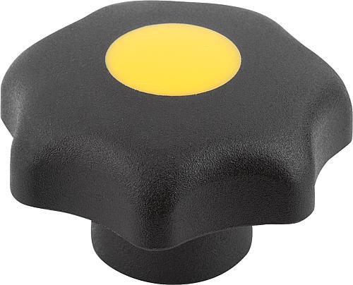 Sterngriff DIN 6336, Form G, ohne Buchse, rapsgelb, Thermoplast
