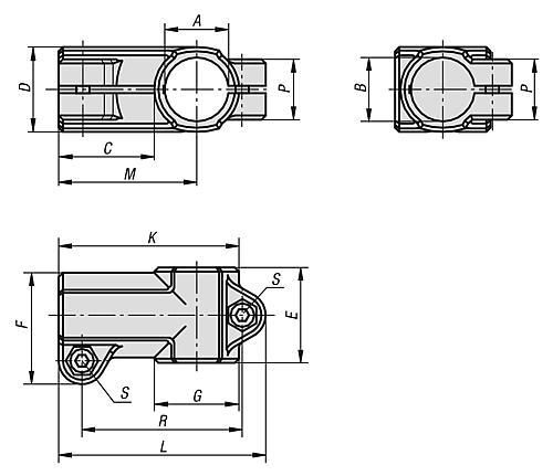 T-Stück Rundrohr Aluminium Zeichnung