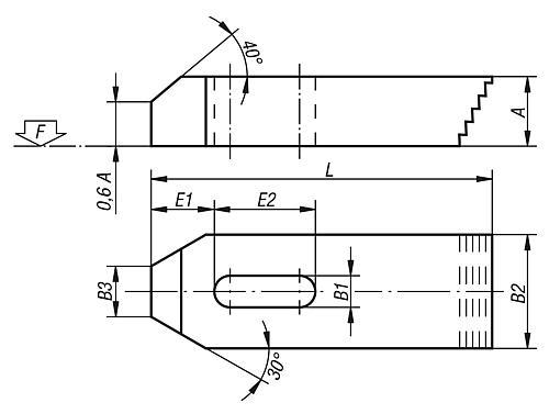 Spanneisen mit Treppenzähnen Zeichnung