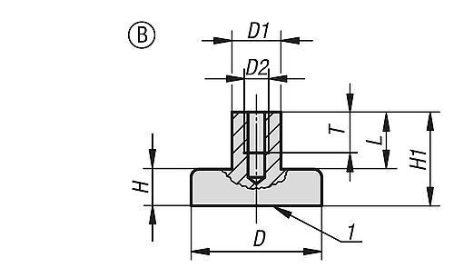 Flachgreifer Form B, aus Hartferrit mit Innengewinde, Zeichnung