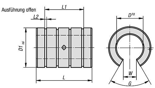 Lineargleitlager, offene Ausführung, Zeichnung