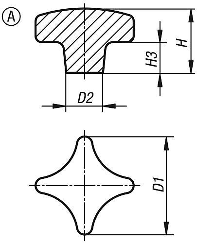 Kreuzgriff DIN 6335, Form A Rohling, Grauguss Zeichnung