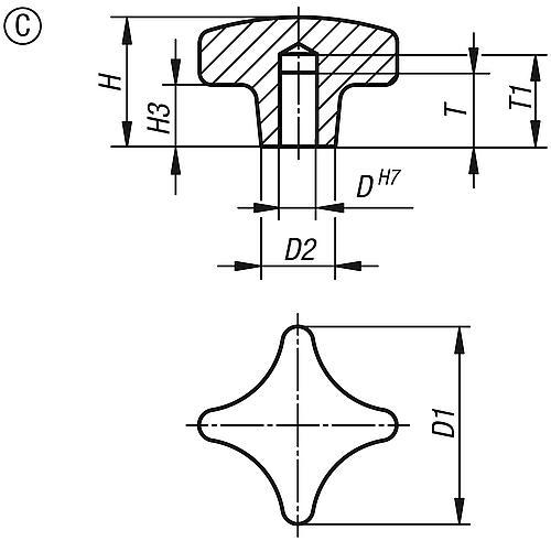 Kreuzgriff DIN 6335, Form C mit Sackloch aus Grauguss, Zeichnung