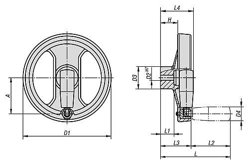 2-Speichenhandrad mit umlegbarem Griff, Kunststoff, Zeichnung