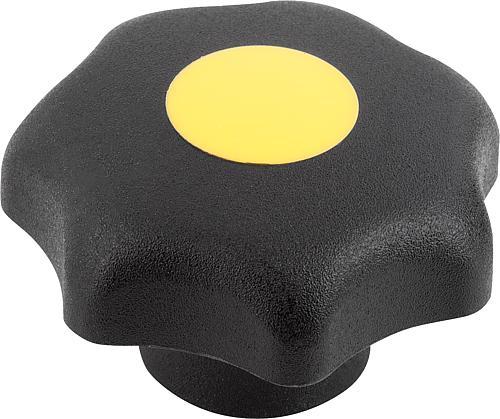 Sterngriff DIN 6336, Form H, mit Passbuchse, rapsgelb, Thermoplast
