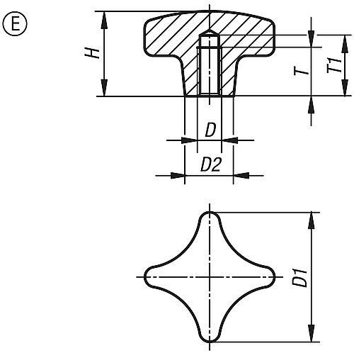 Kreuzgriff DIN 6335, Form E mit Gewindesackloch, Zeichnung