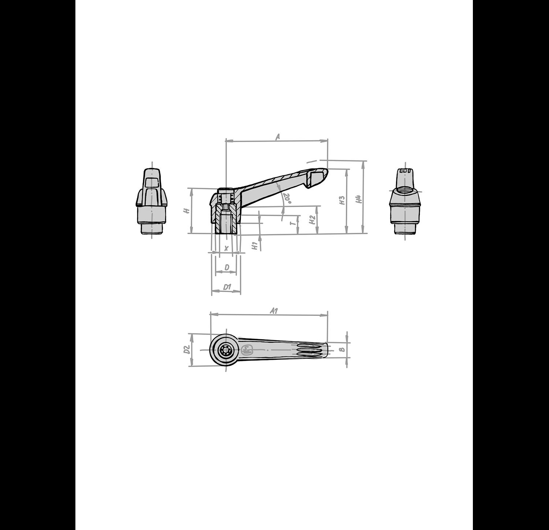 Klemmhebel verstellbar KIPP mit Innengewinde und Kunststoffgriff