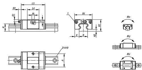 Fuehrungswagen kompakt, kurz Zeichnung
