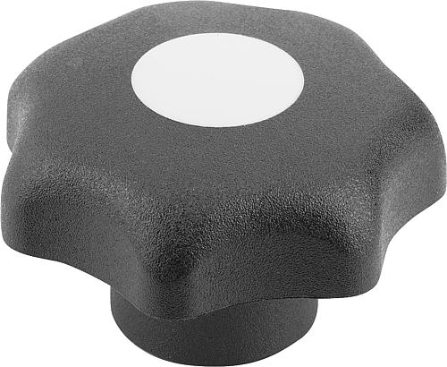 Sterngriff DIN 6336, Form K, Innengewinde mit Deckel, lichtgrau, Thermoplast