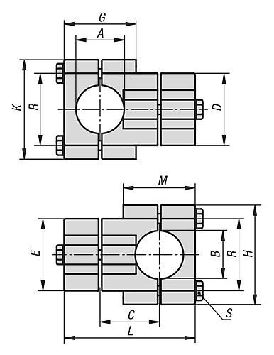 Kreuzstück Rundrohr Aluminium Block Zeichnung