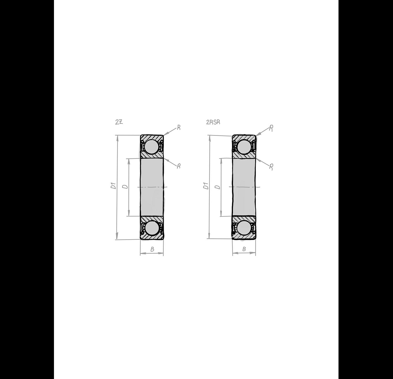 Rillenkugellager DIN 625-1, Zeichnung