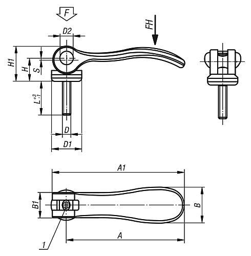 Exzenterhebel einstellbar mit Außengewinde, Zeichnung