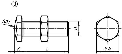 Anschlagschraube Form B Zeichnung