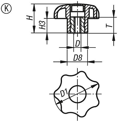Sterngriff DIN 6336, Form K, Innengewinde mit Deckel, Zeichnung