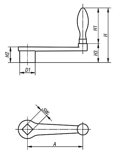 Handkurbe gerade Zeichnung, DIN 468