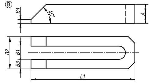 Spanneisen gabelförmig DIN 6315 Aluminium Zeichnung Form B