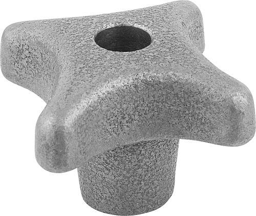 Kreuzgriff DIN 6335, Form B mit durchgehender Bohrung aus Grauguss