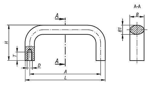 Bügelgriff oval Zeichnung