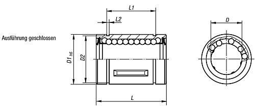 Linearkugellager mit Stahlkaefig geschlossene Ausführung, Zeichnung